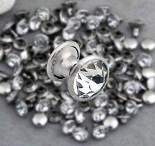 200 Sets 8mm CZ Crystals Rhinestone Rivets Rapid Silver Nailhead Spots Studs DIY