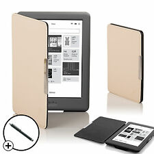 Leather White Smart Shell Case Cover for Kobo Glo HD eReader + Stylus
