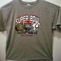 Super Bowl XLIV Saints Vs Colts South Florida Feb 7, 2010 XL Gray Men's T-Shirt