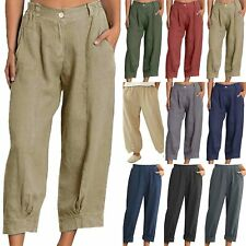 Womens Wide Leg Pants Casual Loose Plain Color Baggy Pockets Long Harem Trousers