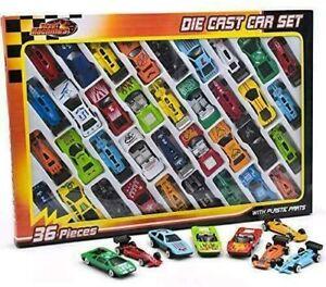 36 Pc Die Cast Racing Cars Vehicle Children Kids Boys Play Toy Birthday Gift Set
