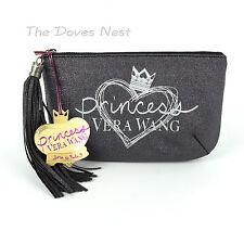 PRINCESS VERA WANG Black CLUTCH SILVER SPARKLE Purse with TASSEL Heart & Crown