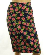 LuLaRoe Cassie Blue And Pink Daisy Pencil Skirt Stretch Size L