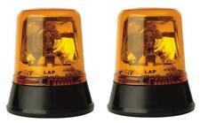 Pair of LAP amber halogen rotating flashing warning beacons 12/24V with bulbs