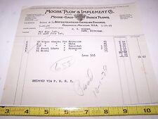 Original Moore Plow Company Billhead Drill Cultivator Hit Miss Gas Engine Mi Wow