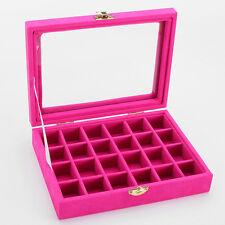 Velvet Glass Jewelry Ring Organizer Tray Holder Earring Storage Case Display Box