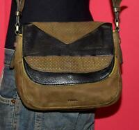 FOSSIL PEYTON Double Flap Olive Black Leather Cross-body Shoulder Purse Bag $228