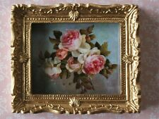 Rose Picture In Ornate Golden Frame, Dolls House Miniatures, Home Decor Framed