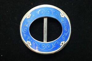 Antique Silver Guilloche Blue Enamel Belt Buckle Henry Matthews Birmingham 1911