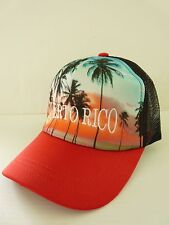 PUERTO RICO SUNSET TROPICAL BEACH PALMS TRUCKER HAT UNISEX ADJUSTABLEVSOUVENIRS