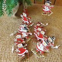 Set di 12 in Legno Rosso Bianco Decorazioni Albero di Natale