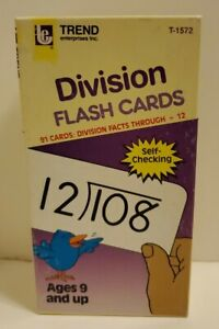 "Trend Enterprises ""Division"" Flash Cards, 91 cards; 1986  # T-1572"