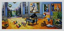 Alexander Astahov Limited Edition Serigraph BLACK PIANO HS/N with COA Surrealism