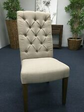 NEW Tuscan French Linen Button Dining Chair Beige Antique Natural Timber Legsd