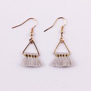New Bohemia Jewelry Small Gold Plated Triangle Fan Fringe Tassel Dangle Earrings