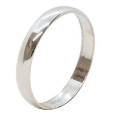 18ct White Gold D Shape Wedding Band Ring 3mm Wide