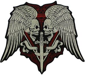 Large Embroidery Applique Skull Sword Patches Iron on Motorcycle Biker Jacket