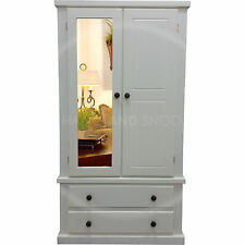 HAND MADE DEWSBURY FURNITURE 2 DRAWER MIRRORED WARDROBE IVORY/OAKED(ASSEMBLED)
