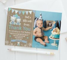 10 Personalised 1st Birthday Teddy Bear Thank You Photo Cards Birthday Thank You