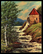 "VINTAGE 1960'S ""BREATH OF SPRING"" WATER MILL FALLS WINDE FINE ART PRINT-WESTAL"