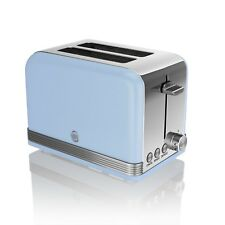 Swan 2 Slice Retro Blue Stainless Steel Bread Loaf Toast Toaster Defrost Reheat