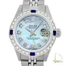 Rolex Lady Datejust 26mm Steel Watch Ice Blue MOP Diamond Dial Sapphire Bezel
