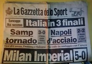 Gazzetta dello Sport - Milan Real Madrid 5-0 Milan Imperial 1989