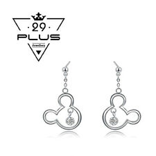 Cute 18K White Gold Filled Mickey Mouse Crystal Fashion dangle Earrings Gift AU
