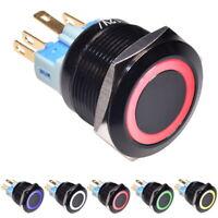 12V Interruttore a Pulsante Bistabile 22mm Ring Acciaio Inox LED Illuminato