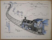 Dessin Ancien Illustration JAC FAURE Scène Humoristique Train Locomotive