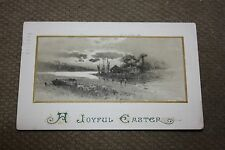 Vintage Postcard A Joyful EasterWith A River Scene, House Boat, & 2 Children