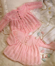 """Vintage uni bébé pu veste ~ prématuré / reborn 16 """" - 18"""" ~ knitting pattern"""