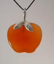 Steinanhänger aus Karneol in der Form eines Apfels Schlaufe 925/- Silber