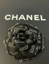 Chanel Black Fabric Camellia Flower Brooch AUTHENTIC
