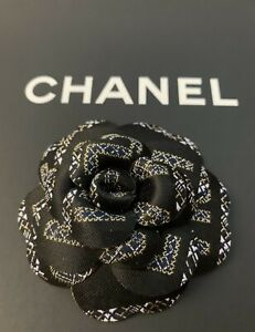 Chanel Black Fabric Camellia Flower AUTHENTIC 3 Inch