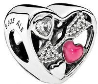 New 2017 Genuine Silver PANDORA Struck by Love Heart Charm 792039CZ RRP £50
