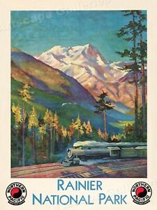 1920s Northern Pacific Rainier National Park Train Travel Poster - 20x28