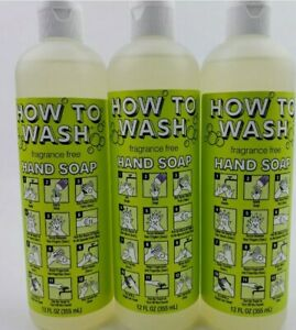 3 Bottles HOW TO WASH Naturally Derived Liquid Hand Soap 12oz ea Fragrance Free