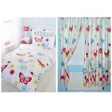 Papillons Set Housse de couette simple + assortis 168cm X 183cm Doublure rideaux