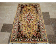New Exclusive Rectangle Area Rug Medallion Flowers Hand Knotted Wool Silk Carpet