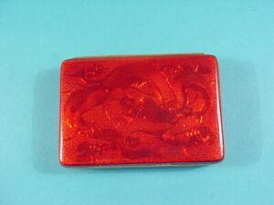 Vintage Japanese Red Enamel Dragon Pattern Trinket/Jewelry Box~Made In Japan