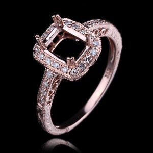 14K Rose Gold Semi Mount 5.5X7.5MM Emerald Cut Setting Engagement Diamond Ring