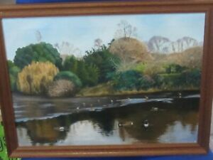 Original Oil of Rectory Park Southall London by Peter Lewis