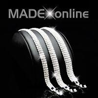 Straight Line Silver Plated Diamante Diamonte Sparkle Bling Bracelet