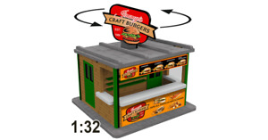 1:32 Scale Jimmy's Burger Stand Kit w/Motorized Rotating Banner for Slot Cars
