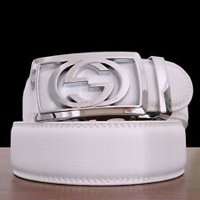 Men White Leather Belts Automatic Belt Buckle Fashion Designer Jeans Waist Belt
