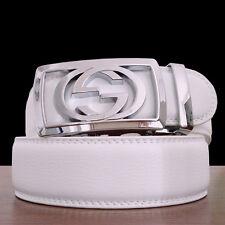 Mens White Leather Belts Automatic Belt Buckle Fashion Designer Jeans Waist Belt