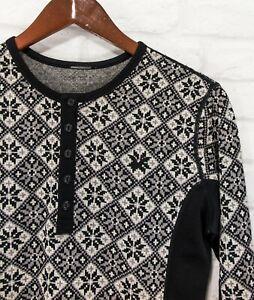 Kari Traa 100% Merino wool Thermal Base Layer Womens Top Sweater Snowflakes : L
