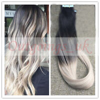 7A Balayage Ombre Black to Blonde Remy Seamless Tape In Human Hair Extensions