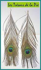 Boucles d'oreilles - PLUME DE PAON - 30/32cm - Multicolore